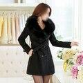 SAF de Lana Delgada Double-Breasted Trench Parka Faux Fur Winter Jacket Coat 8-COLORES