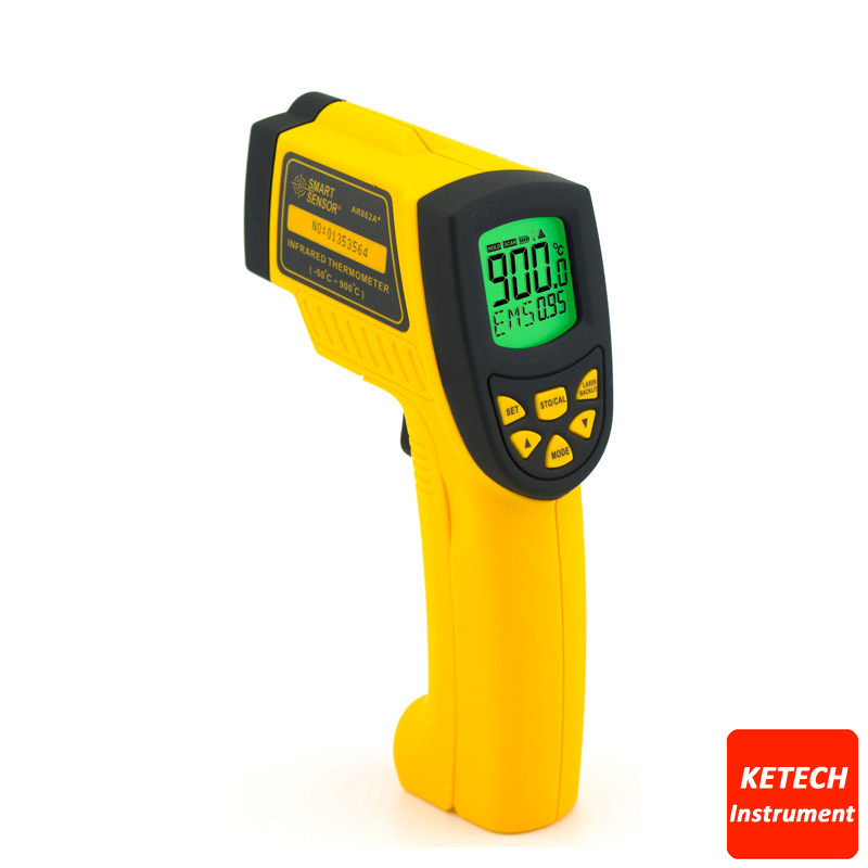 AR862A Digital Non-Contact Infrared IR Thermometer Laser Infrared Thermometer -50 to 900C 2017 bside btm21c infrared thermometer color digital non contact ir laser thermometer k type 30 500 led
