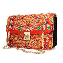 Women Folk-custom Embroidered Flower Shoulder Bags Ladies Chain Messenger Bags 2016 New