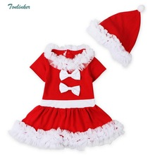 Baby Girls Kids Christmas Party Red Dress With Hat Children New Year Costume  Dresses Winter Infantis Clothing Roupas Menina baby girls clothes christmas carnival party costumes vestido red children dresses with feather christmas new year tutu dresses