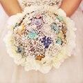 Зеленая мята свадебные броши букет Белый гортензия окружают невеста 'ы букет, перл кристалл Ювелирные Изделия брошь букет декор