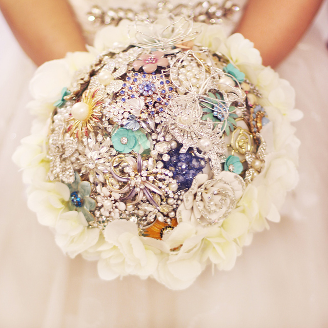 f810a46e1dfdc US $195.0  Mint Green Wedding bridal brooches bouquet White hydrangea  surround bride's bouquet, Pearl crystal Jewelry brooch bouquet decor-in  Wedding ...