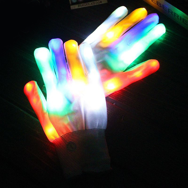 2 pcs Creative LED Finger Lighting Flashing Glow Mittens Gloves Rave Light Festive Event Party Supplies Luminous Cool Gloves
