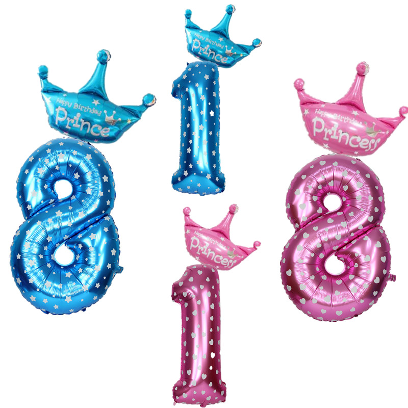 40 Inch Number Inflatable Foil Balloons Digit Helium Ballons <font><b>18th</b></font> Kids <font><b>Birthday</b></font> Party <font><b>Decorations</b></font> Wedding Decor Party Supplies image