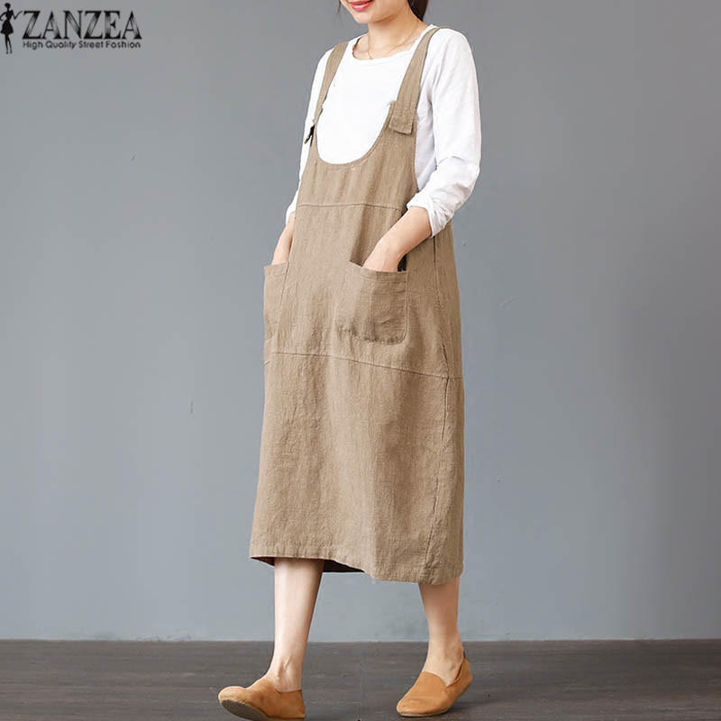 41e9597e6a05 ... about 2018 ZANZEA Summer Women Strappy Sleeveless Casual Long Suspender Dress  Solid Loose Cotton Linen Midi Overalls Vestido Plus Size on Aliexpress.com  ...