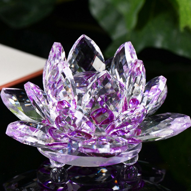Crystal Swan Lotus Crystal  Collection Glass Figure Paperweight Ornament Feng Shui Decor Ornament Feng Shui Decor Collection