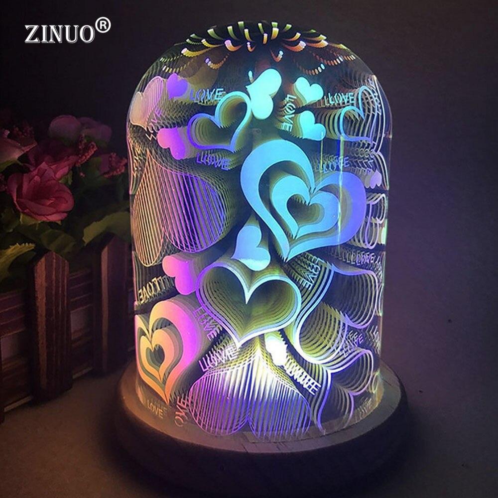ZINUO 3D Illusion Luce di Notte Ovale A Forma di Lampada Da Tavolo A LED 3D Fuochi D'artificio/Starburst/Cuore di Amore Lampada Decorativa USB Luce della novità