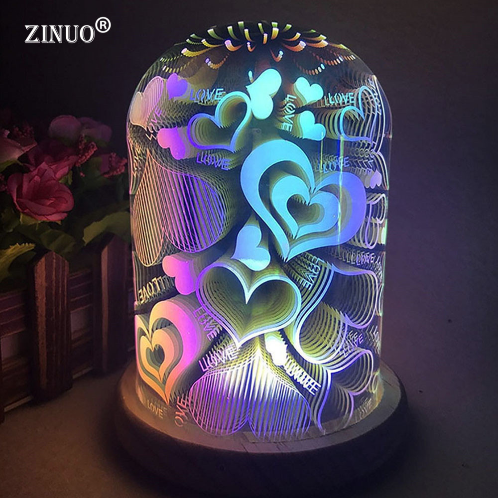ZINUO 3D Illusion Night Light Oval Shaped LED Table Lamp 3D Fireworks/Starburst/Love Heart Decorative Lamp USB Novelty Light amroe 3d illusion love heart led lamp