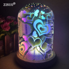 ZINUO 3D Illusion Night Light Oval Shaped LED Table Lamp Fireworks/Starburst/Love Heart Decorative USB Novelty