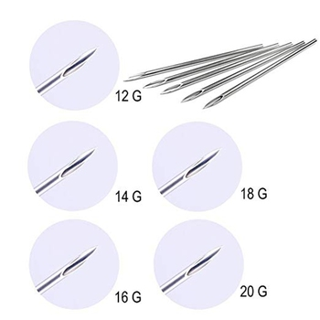 цена Ear Nose Piercing Needles Body Piercing Needles Tattoo Supply Assorted size 12G 14G 16G 18G and 20G Body Art Body Piercing Tool онлайн в 2017 году