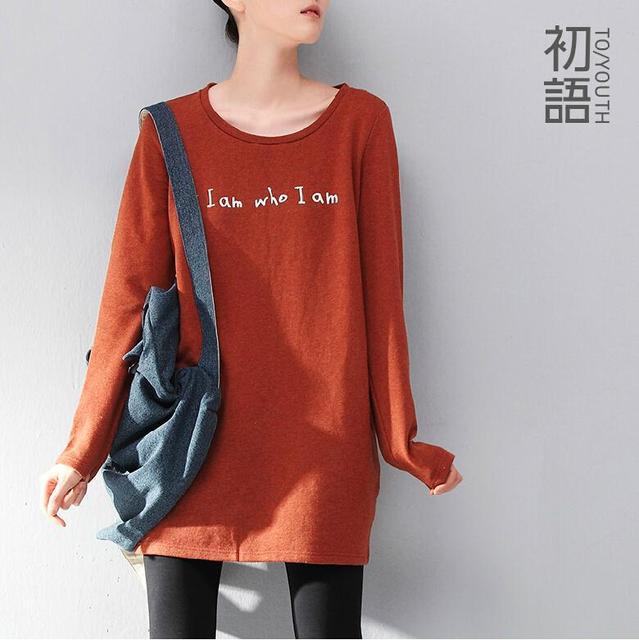 Toyouth Plus Size Mulheres Camisetas de Algodão Letra Impressa O-pescoço de Manga Longa Pullover de Médio-Longo Ocasional Solto Outwear Tee Topo