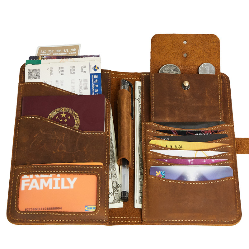 Fou Cheval En Cuir Véritable Hommes Portefeuilles Porte-Monnaie Couverture Du Passeport Titulaire de la Carte D'embrayage Mâle Détenteur d'un passeport Handy Brun # MJ2052
