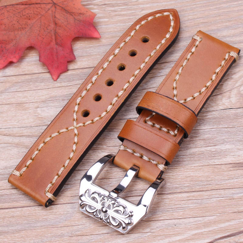 22mm 24mm Watchband Men Women Black Brown Green Gray Genuine Leahter Thick Watch Strap Embossed Silver Polished Metal Buckle