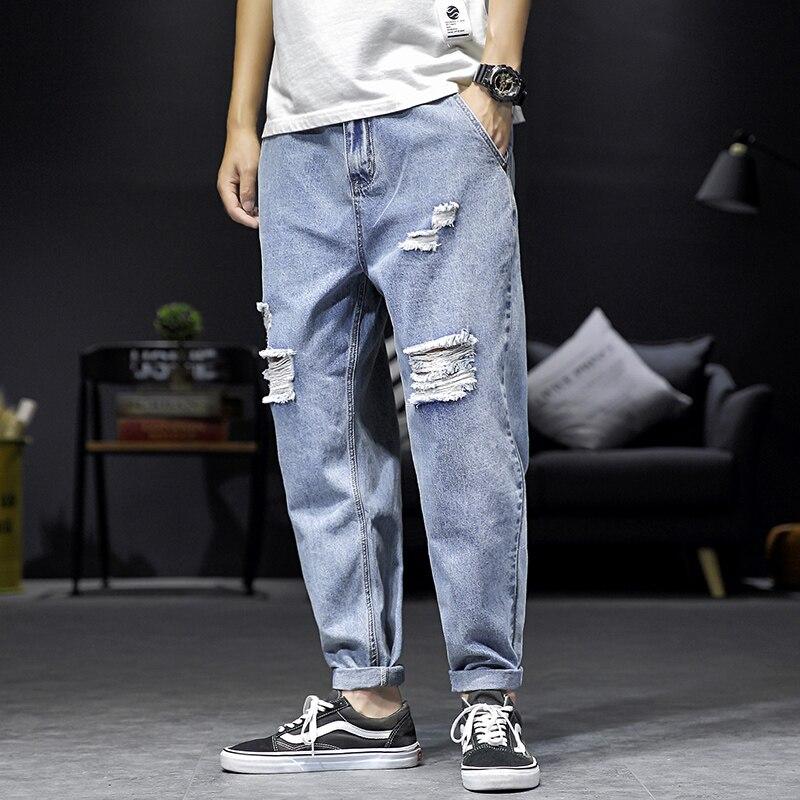Mens Baggy Jeans Plus Size 2019 Autumn New Jeans Men Original Loose Ripped Jeans For Men Streetwear Hole Denim Pants Men Trouser