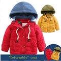 2016 ребенка зимой Мальчик и девочка ребенок ватные куртки верхняя одежда утолщение хлопка-ватник 2-8y дети куртка весь Красный Yellowt