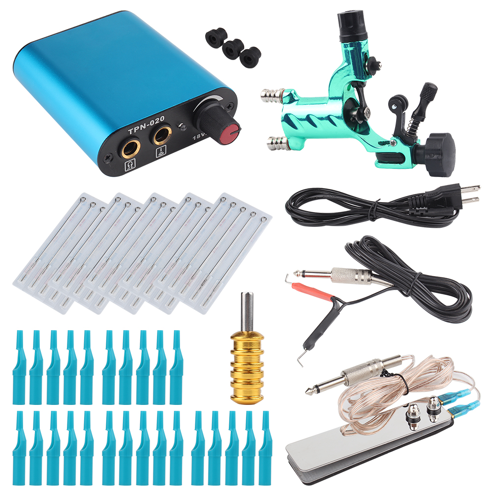 Tattoo Kit Green Dragonfly Rotary Tattoo Machine Shader & Liner With Tattoo Needle and Disposable Tattoo Tips Power Supply ac dc adaper 110 220v digital lcd tattoo power supply dual setting liner shader with 4 machine memory modes and adjustable base