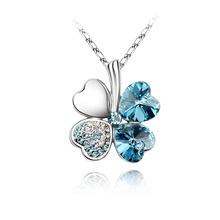 Classic Sweet Clover Pendant Necklaces for Women Crystal From SWAROVSKI Chain Collier Jewelry Best Friend Gift