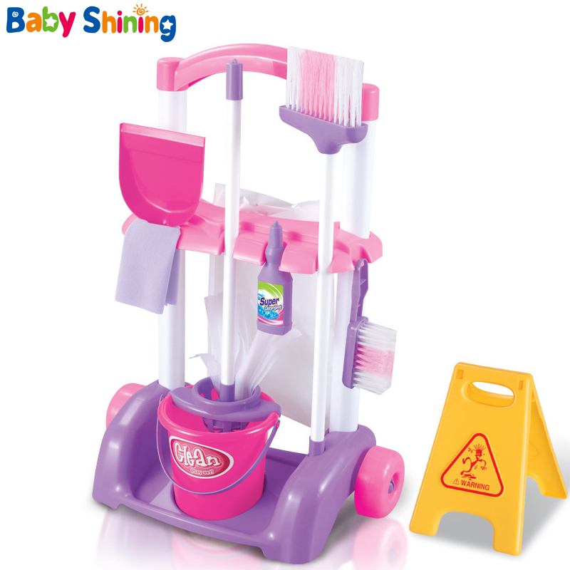 Baby Shining  Kids Pretend Play Housekeeping Toys Sweeping Simulation Vacuum Cleaner Baby Kit  For Children 3-7Y
