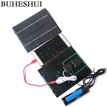 BUHESHUI 3 5W 5V Solar Panel With DC 3 5MM Base For 18650 Rechargeable Battery USB