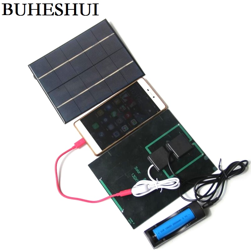BUHESHUI 3.5W 5V Solar Panel With DC 3.5MM Base For 18650 Rechargeable Battery+USB Output For Mobile Power Bank New