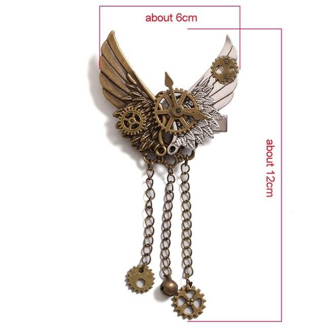 Стимпанк брошка с крыльями и шестеренками 2