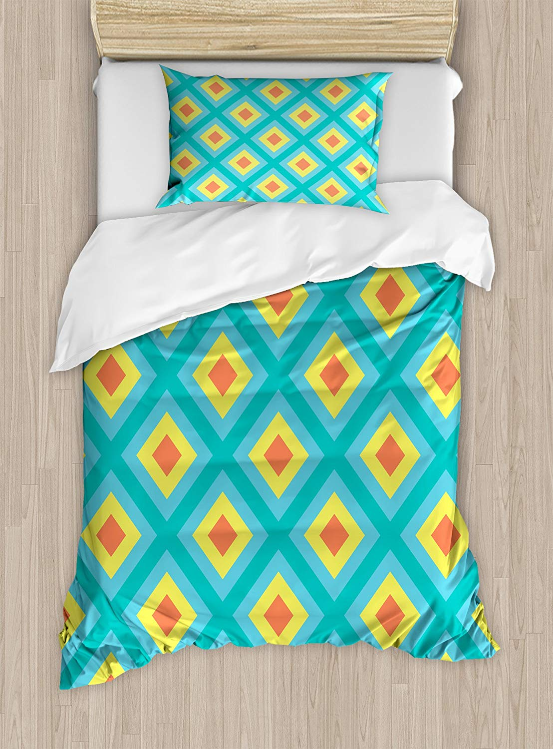 Yellow and Blue Duvet Cover Set Pattern with Nested Squares Geometric Retro Rhombus Mosaic, Decorative 3 Piece Bedding SetYellow and Blue Duvet Cover Set Pattern with Nested Squares Geometric Retro Rhombus Mosaic, Decorative 3 Piece Bedding Set