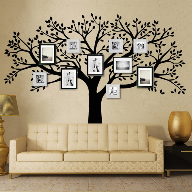 marca family tree tatuajes de pared de vinilo tatuajes de pared rbol photo frame pegatinas sala
