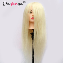 90 Real Hair Mannequin Head Hairdresser Training Head Mannequin Head For Hairdresser Hairdressing Dolls Head