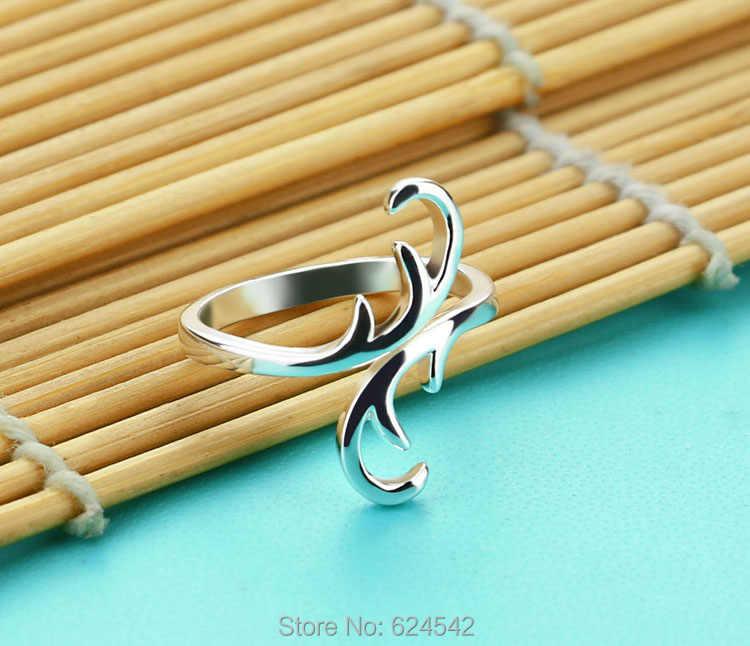 สินค้าใหม่เงินใบแบน 925 แหวนเงินเปิดแหวนผู้หญิงเครื่องประดับแหวนของขวัญ
