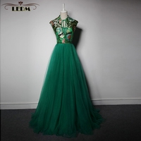 Brautjungfernkleid2017 New Tulle Embroidery High Neck Emerald Green Bridesmaid Dress Long High Quality Wedding Guest Dresses