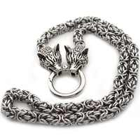 Mens Wolf Head Necklace Steel HeavyViking Wolf Norse Jewelry Necklaces Chain Diameter 7mm