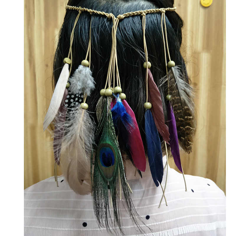 1 pcs peacock feather fascinator hair band Indian headdress feathers Bohemian national style decoration