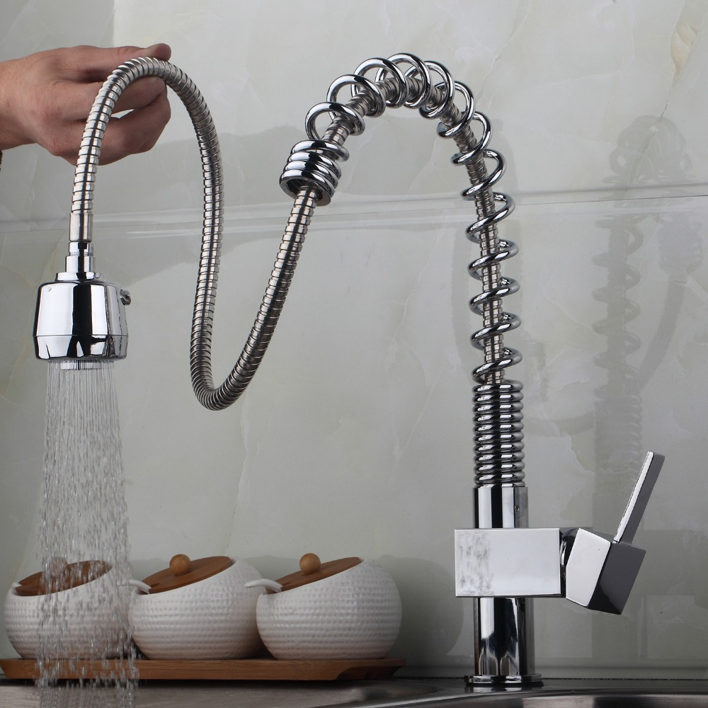 AU Contemporary Kitchen Sink Faucet Pull Out Spray Swivel Spout Chrome Brass Finish Deck Mounted Tap