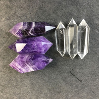 Natural quartz crystal obelisk 3amethyst +3clear double point healing