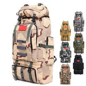 Image 1 - 80L большой емкости мужской военный рюкзак многофункциональный водонепроницаемый Оксфорд поход рюкзаки для кемпинга износостойкий дорожный рюкзак