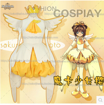 Anime CARDCAPTOR SAKURA cosplay KINOMOTOSAKURA set cos halloween party full set5in1(shorts+dresses+Headwear+gloves+wing)