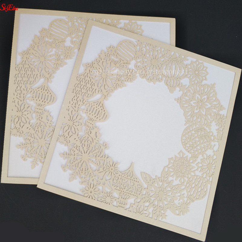 30 Pcs Laser Cut Kartu Undangan Pernikahan Emas Merah Flora Mewah