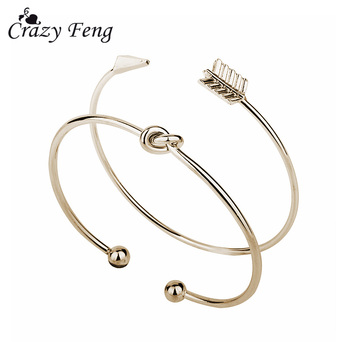 2PCS Vintage Gold Color Tie Knot Bracelet Bangles Simple Twist Cuff Open Bangles For Women Indian Jewelry Costume Jewellery 2018 1