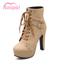 Nasipal Woman Winter Shoes Ankle Boots Round Toe High Heels Martin Boots Shoes Platfrom Heel Women
