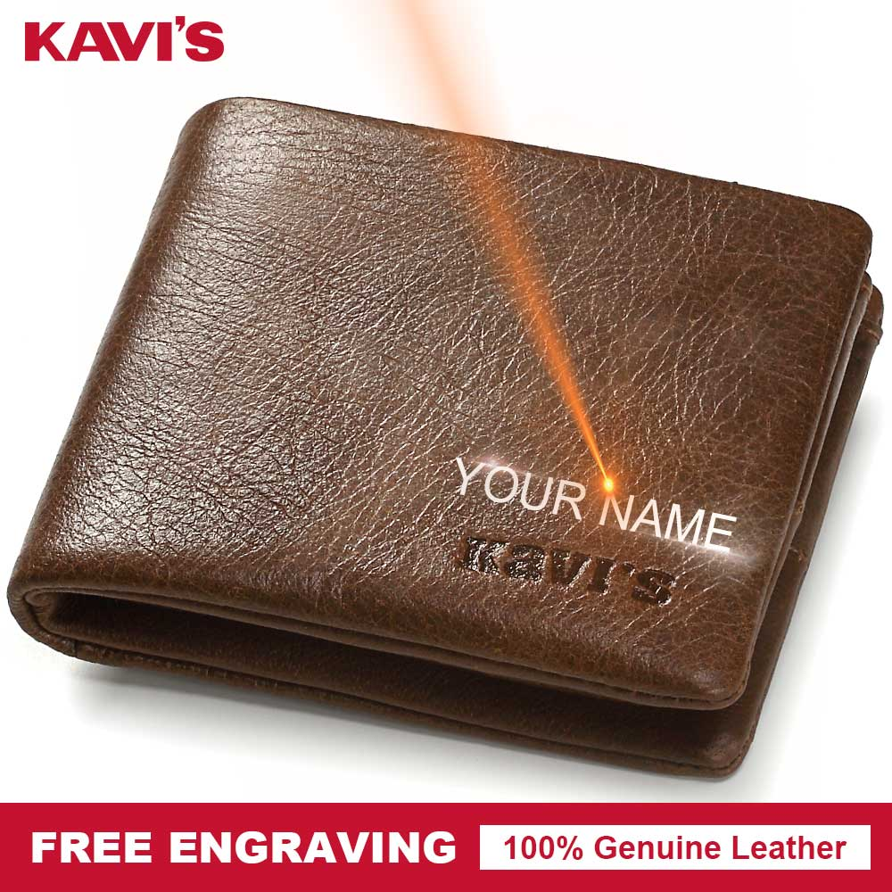 KAVIS Genuine Leather Wallet Men Small Mini Coin Purse Male Cuzdan Portomonee PORTFOLIO Engraving And Card Holder For Name