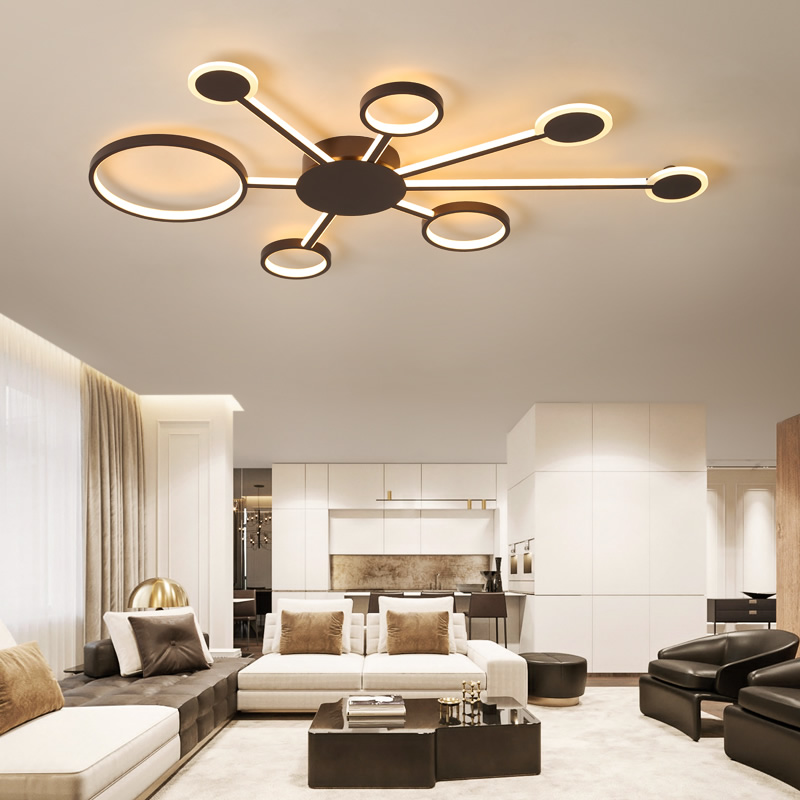 Brown Fashional Super Thin Modern Chandelier For Living Room Bedroom Circle Rings Led Chandelier Light For Indoor Lighting fashional modern black