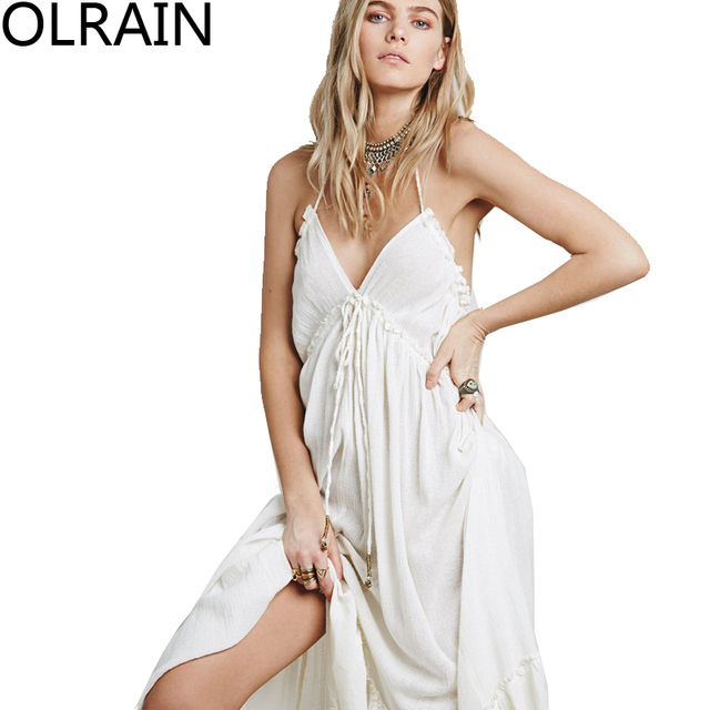 Olrain Elegant Greek Style Halter Sexy Backless Deep V Neck Maxi Dresses  Sleeveless Off Shoulder Spaghetti Strap Long Dress f8248ae4b756