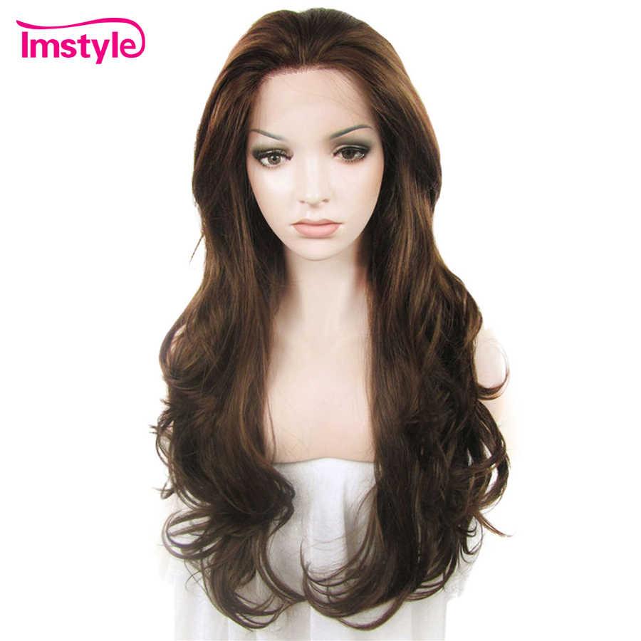Imstyle парики из натуральных волнистых коричневых цветов для женщин, Термостойкое волокно, синтетический парик из кружева, бесклеевая Повседневная Косплей