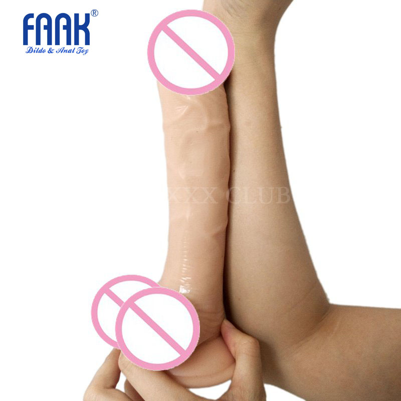 FAAK 23.5*4.5cm flexible penis with suction cup testis dildo Female Masturbation Dong Sex Toy for women Simulation 3 colors фаллоимитатор dong with suction cup 6 5 телесный