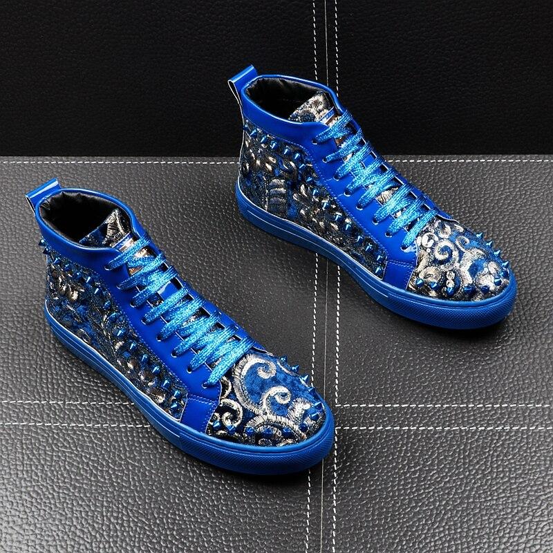 Haute En Hommes Bleu Courtes Hip Sneakers bleu Rivets Qualité Printemps Hop Peluche Panda Punk Noir Bottes Chaussures Nouvelle Arrivée Mode Automne Nvwm8n0