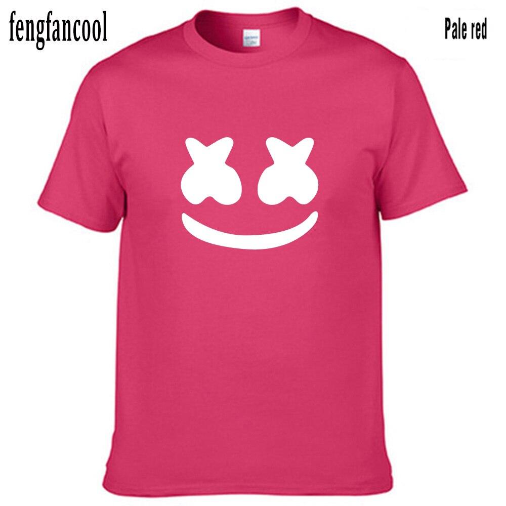 Fengfancool marca Summerwomen hombres camiseta de manga corta de algodón malvavisco cara hombres camisetas Casual Hip Hop música Top camiseta