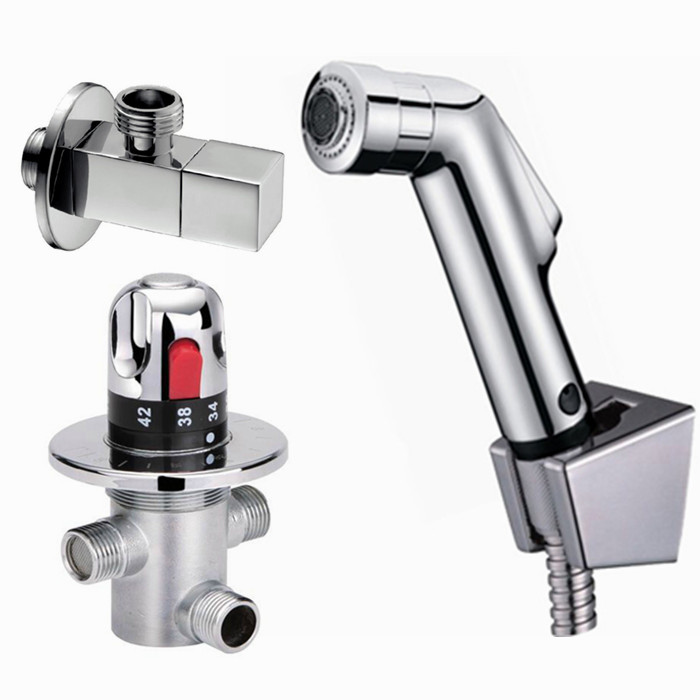 Thermostatic Bidet Faucets Mixers Taps + abs handheld shower +Shower Holder + Shower Hose BD198 shower hose sea pioneer 1 5m anti explosion stainless steel shower hose with solid brass