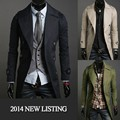 2016 Long Coat Fashion Men Clothes imported china slim long busniess man jacket cotton coat M-XXL U6502