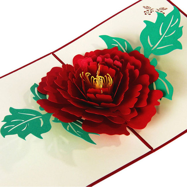 Free Delivery 3D Pop Up Greeting Cards Peony Birthday Valentine Mothers Day Christmas Thanks Postcard Gift New Drop Ship