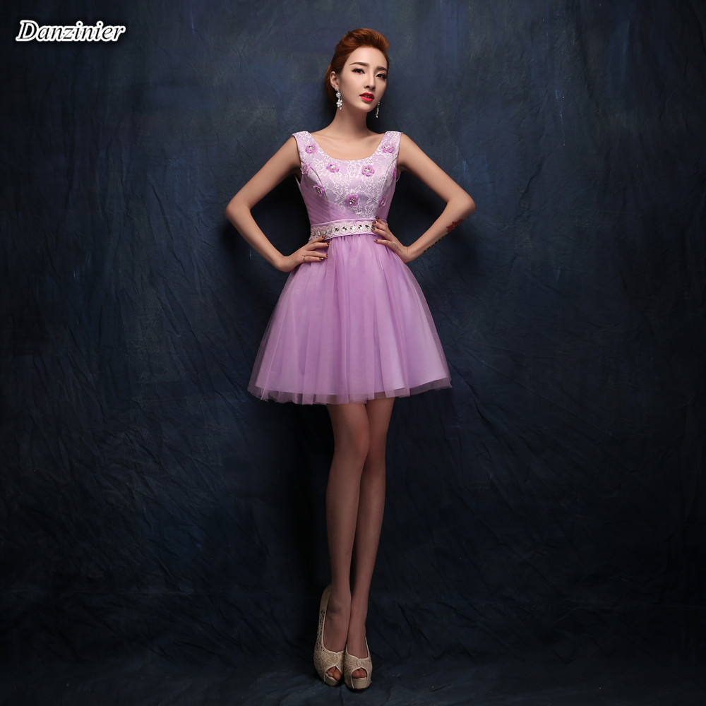 Purple sequin junior bridesmaid dresses promotion shop for danzinier real photo short bridesmaid dress with flower beading mini formal party gowns for wedding purple bridesmaid dresses ombrellifo Gallery